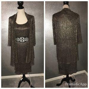 R&M Richards metallic dress and cardigan: 12